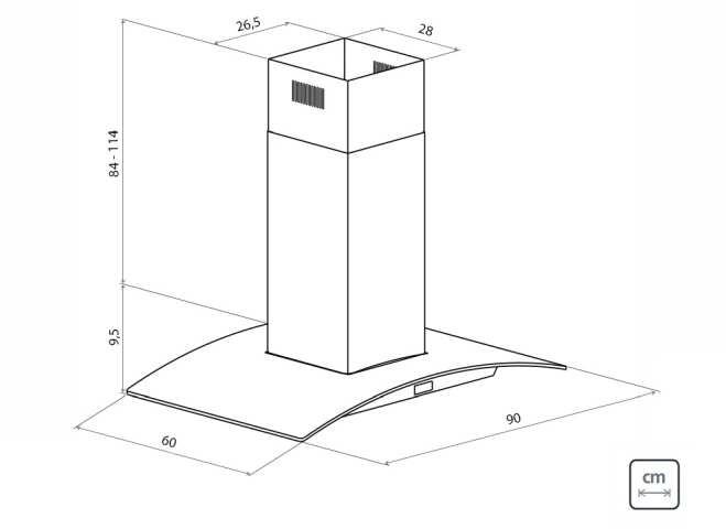 Dimensões do produto - Coifa Tramontina Vetro isla Black Touch 90