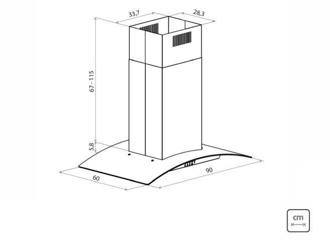 Dimensões do produto - Coifa Tramontian New Vetro Isla 90
