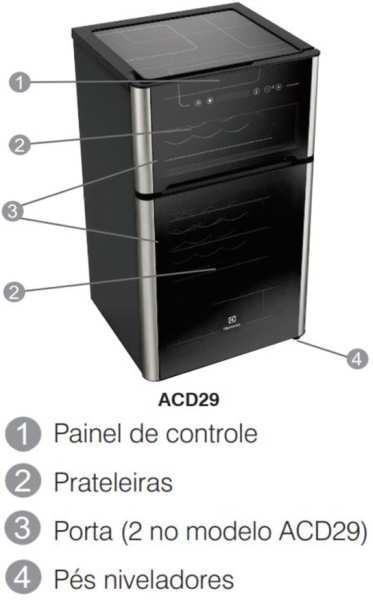 Medidas de Adega Electrolux 29 Garrafas de Vinho - ACD29