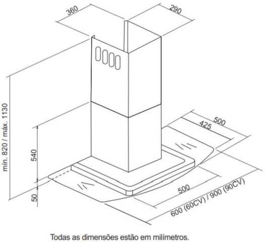 Dimensões do produto - 60CV