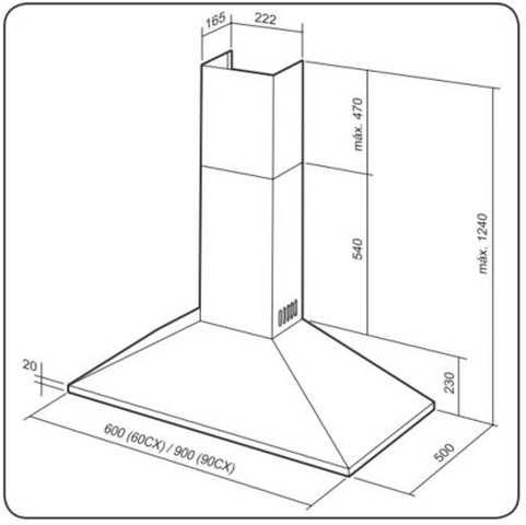 Dimensões do produto - 60CX