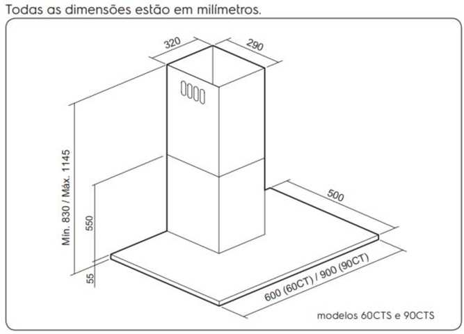 Dimensões do produto - 90CT