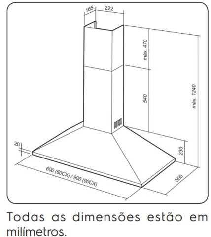 Dimensões do produto - 90CX