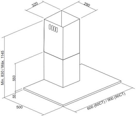 Dimensões do produto - Coifa Electrolux 60CT