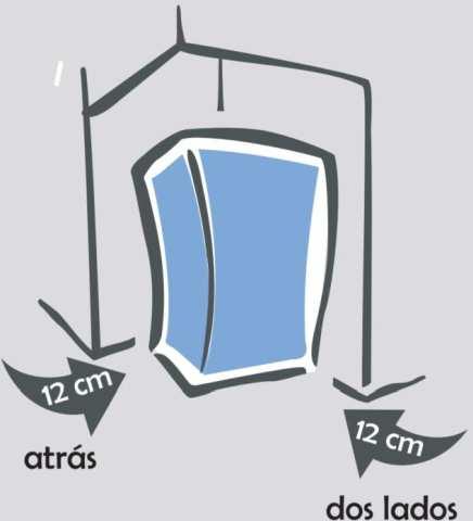 Instalação da Adega Electrolux - distâncias ao redor do produto