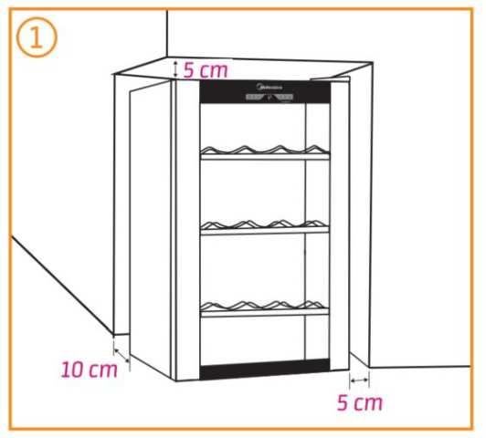 Instalação da Adega Midea - Distãncias ao redor do produto