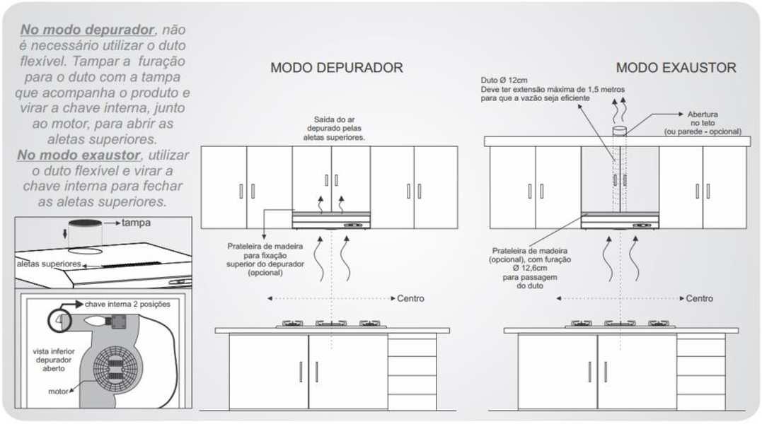 Instalação de depurador de ar - modo exaustão ou modo depurador