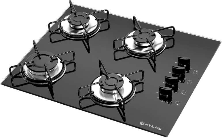 Medidas de Cooktop Atlas Agile 4 queimadores Mega Chama
