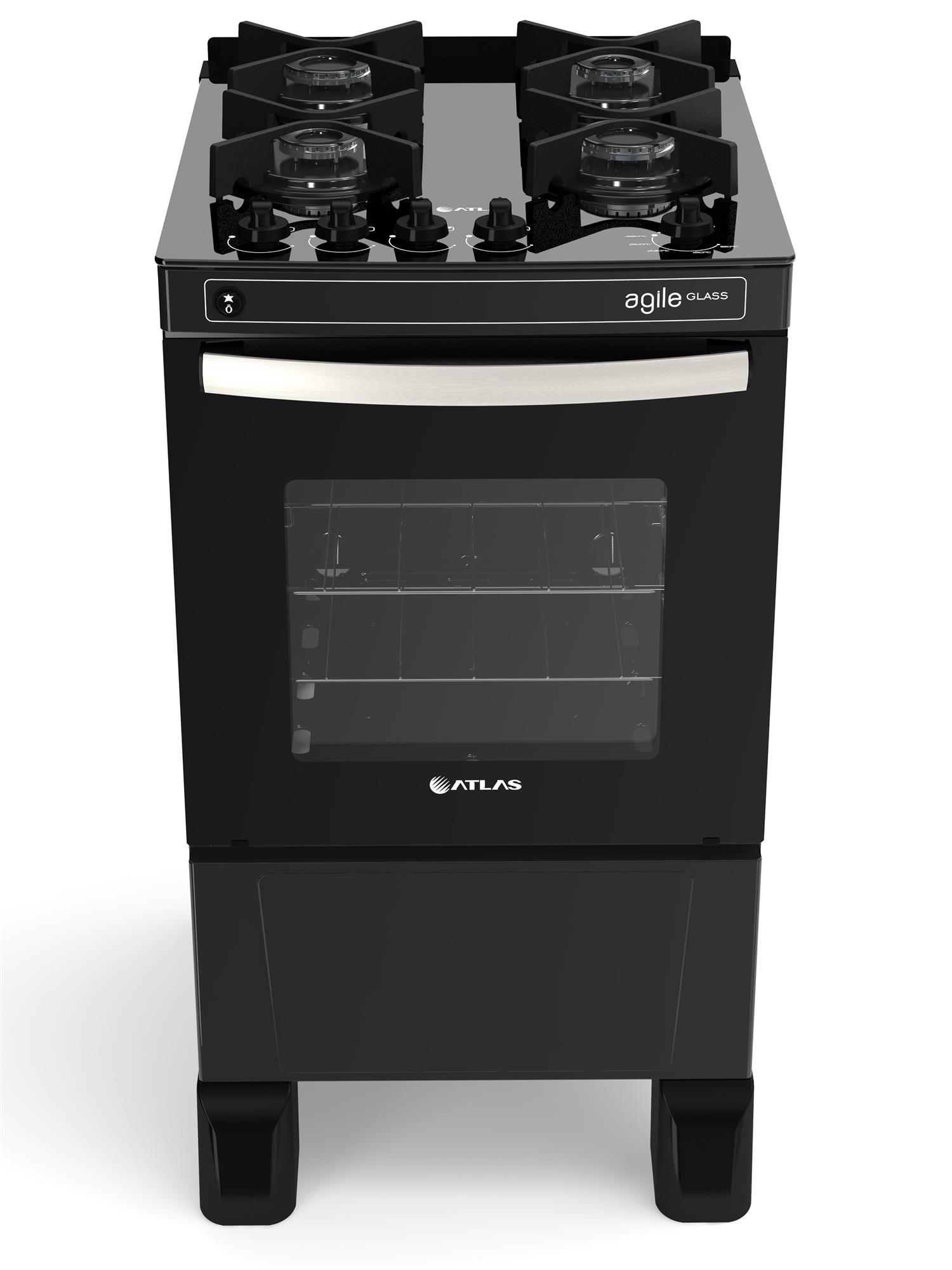 Medidas de Fogão Atlas Agile Glass preto 4 Queimadores