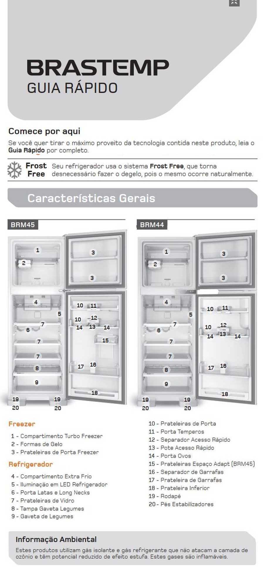 Manual de operação Geladeira Brastemp Frost Free Duplex BRM45 - Conhecendo a geladeira