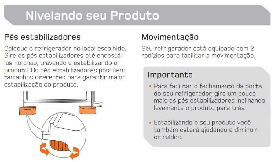 Manual de operação Geladeira Brastemp Frost Free Duplex BRM45 - nivelando os pés