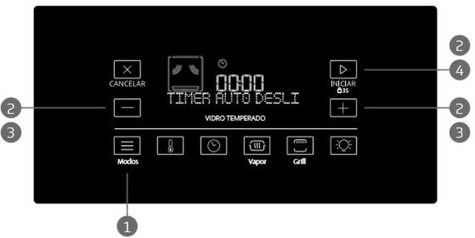 Utilizando a função timer para auto-desligamento - fogão Brastemp BYS5C