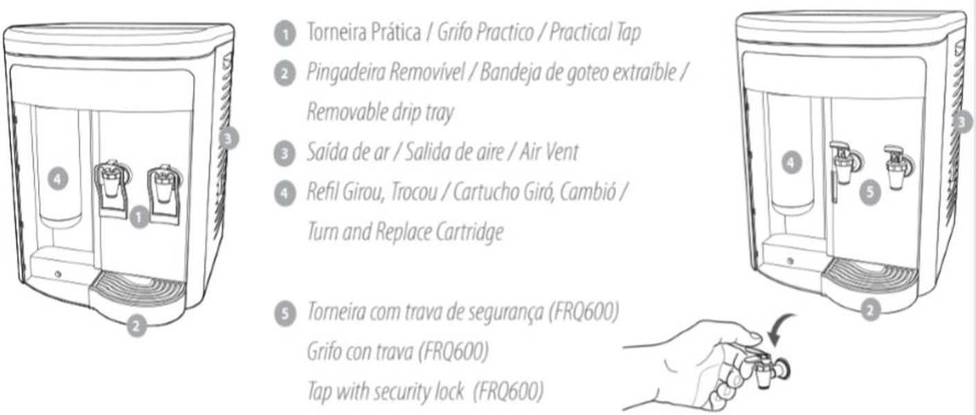 Medidas do Purificador de Água IBBL FR600 Speciale Prata