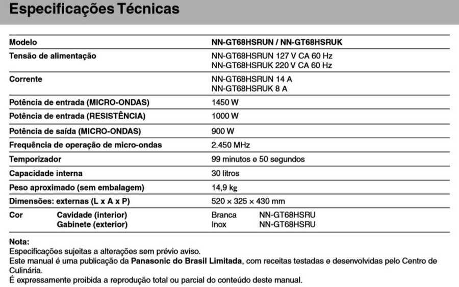 Manual de instruções do microondas Panasonic NN-GT68H - Especificações técnicas