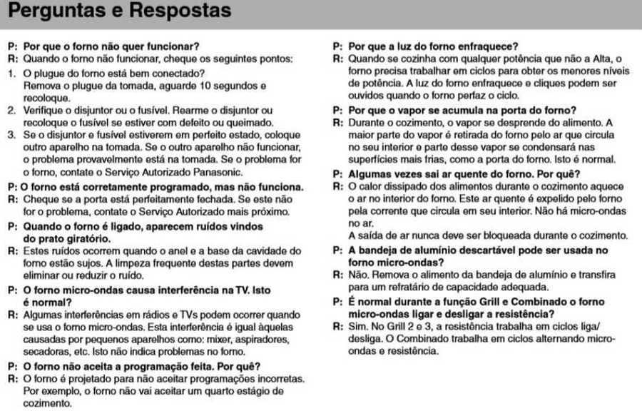 Manual de instruções do microondas Panasonic NN-GT68H - Perguntas e respostas