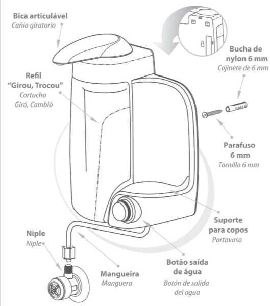 Medidas do Purificador de Água IBBL MIO prata