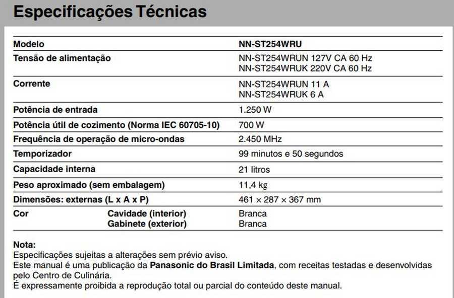 Manual de instruções do microondas Panasonic NN-ST254 - Especificações técnicas