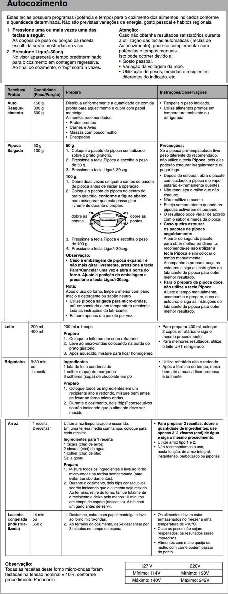 Manual de instruções do microondas Panasonic NN-ST254 - Autocozimento