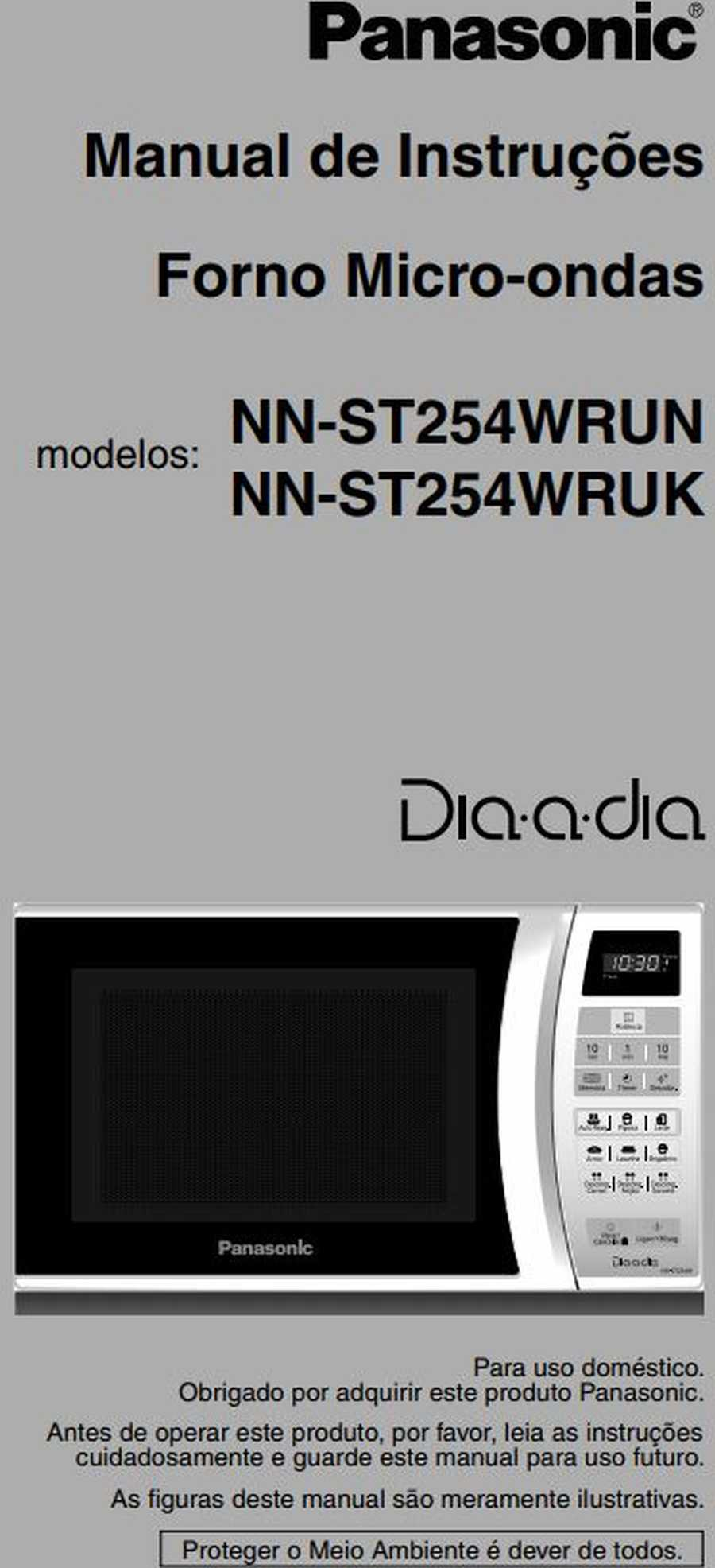 Manual de instruções do microondas Panasonic NN-ST254 - Capa