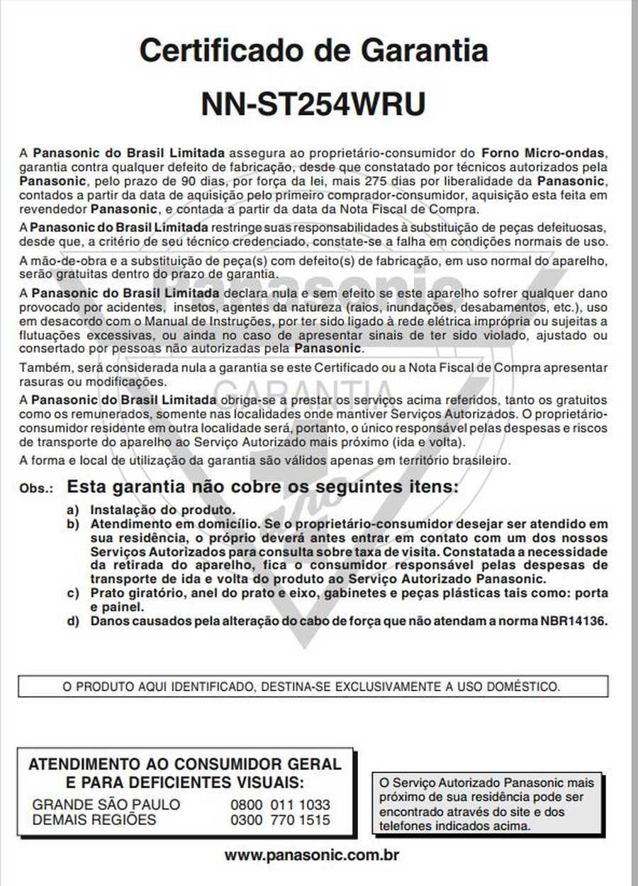 Manual de instruções do microondas Panasonic NN-ST254 - Certificado de garantia