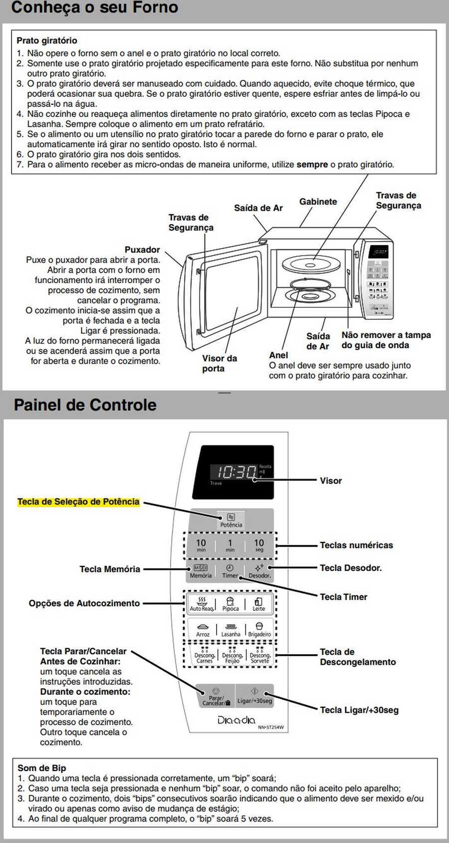 Manual de instruções do microondas Panasonic NN-ST254 - Conheça seu forno
