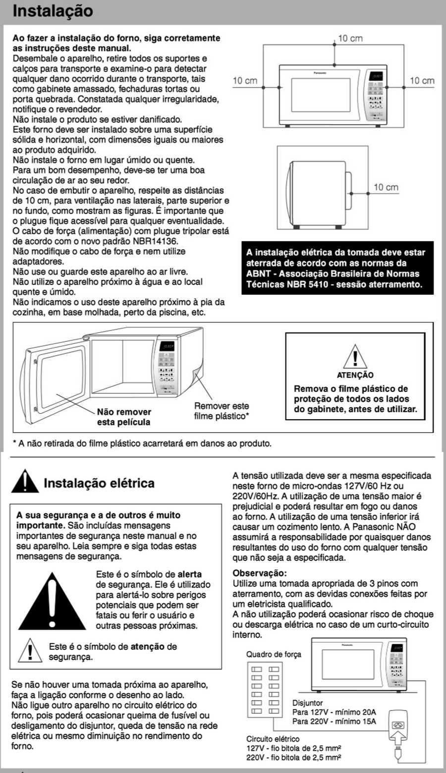 Manual de instruções do microondas Panasonic NN-ST254 - Instalação