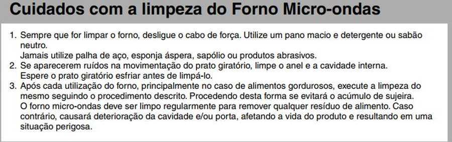 Manual de instruções do microondas Panasonic NN-ST254 - Limpeza do forno