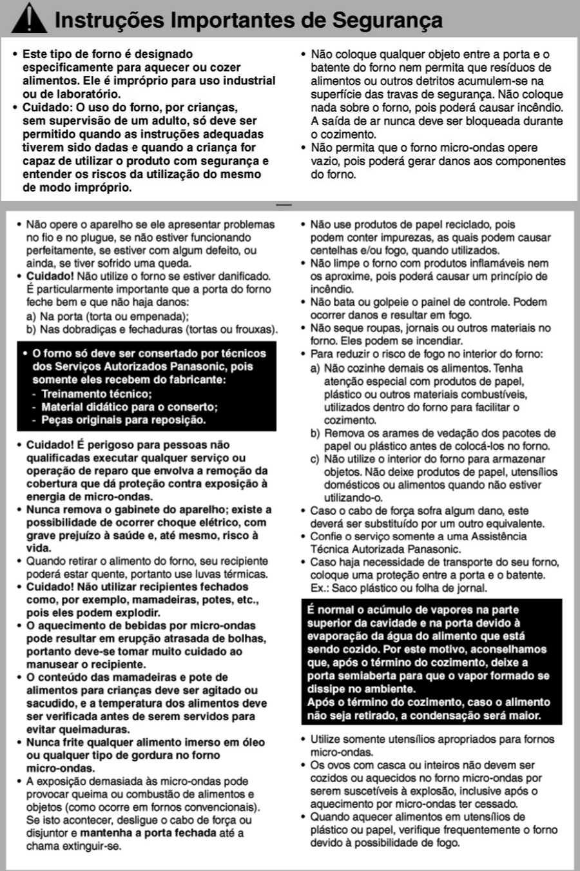 Manual de instruções do microondas Panasonic NN-ST254 - Segurança