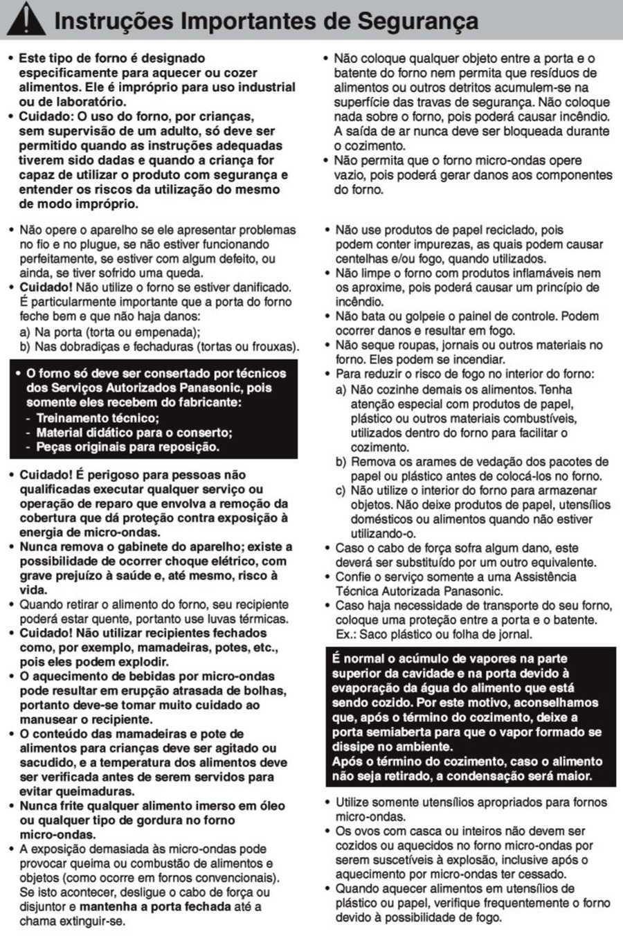 Manual de instruções do microondas Panasonic NN-ST35H - Segurança