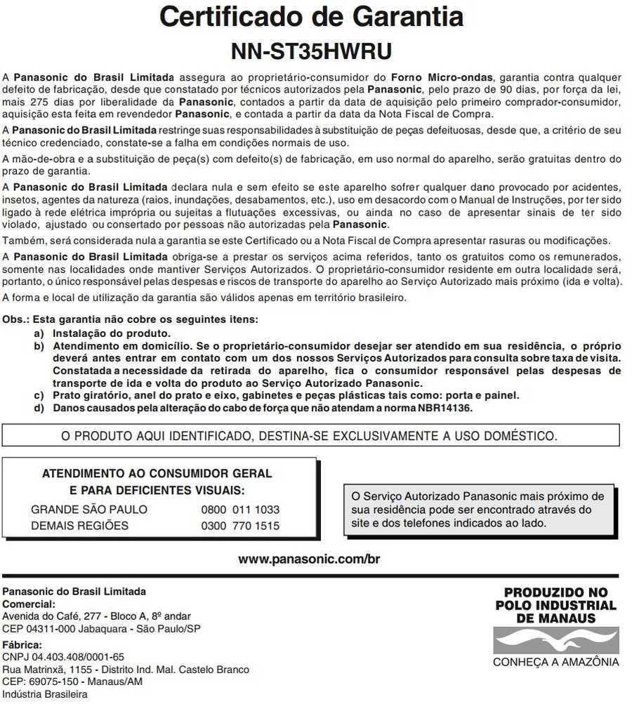 Manual de instruções do microondas Panasonic NN-ST35H - Certificado de garantia