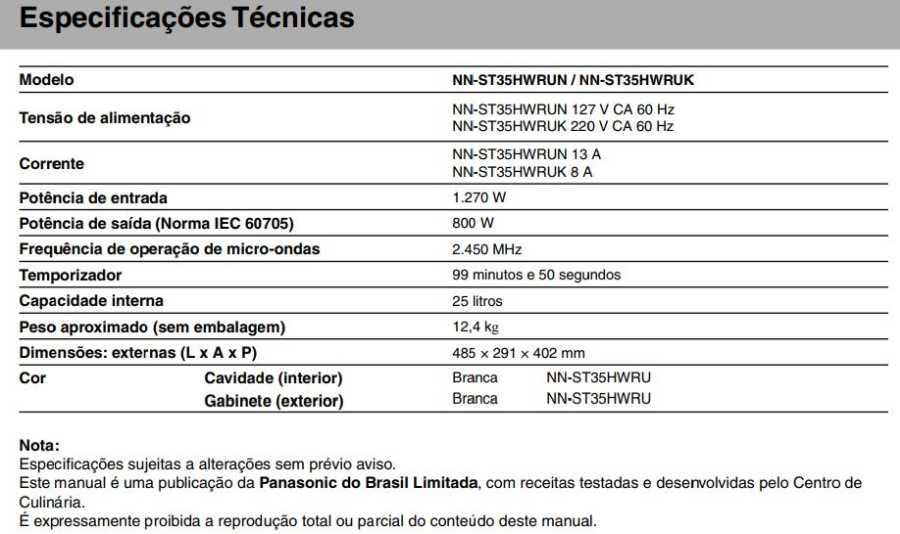 Manual de instruções do microondas Panasonic NN-ST35H - Especificações técnicas