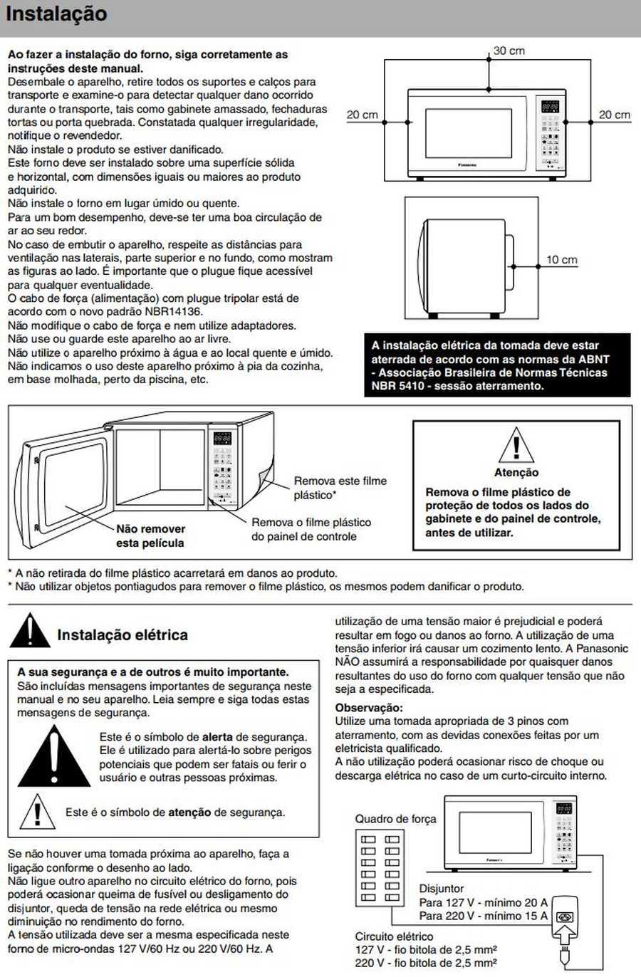 Manual de instruções do microondas Panasonic NN-ST35H - Instalação