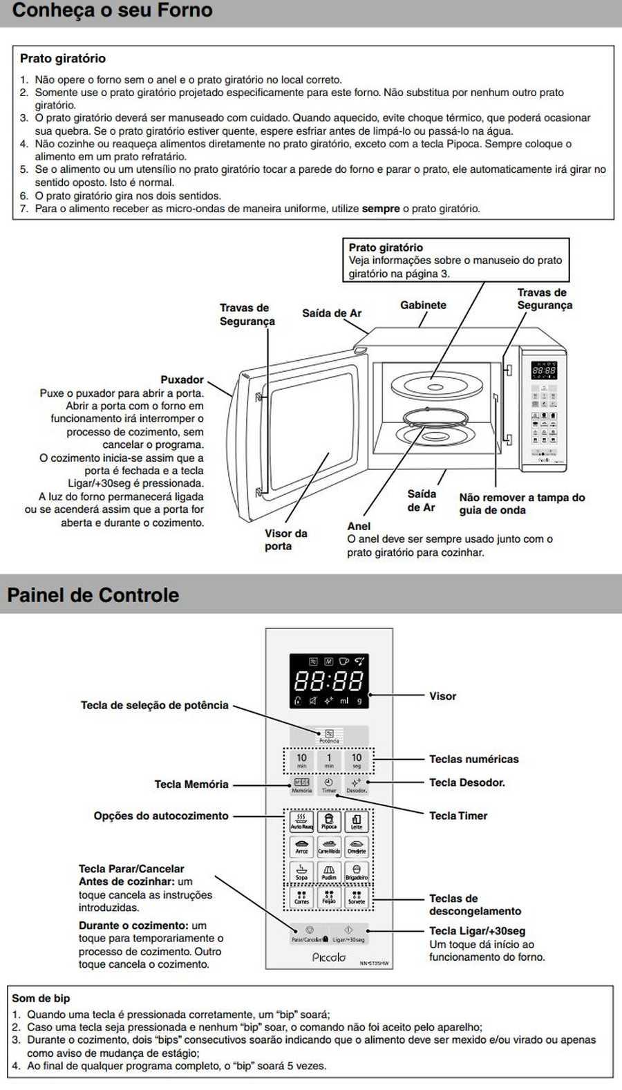 Manual de instruções do microondas Panasonic NN-ST35H - Conheça seu forno