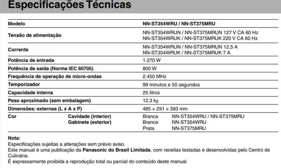 Manual de instruções do microondas Panasonic NN-ST375 - Especificações técnicas