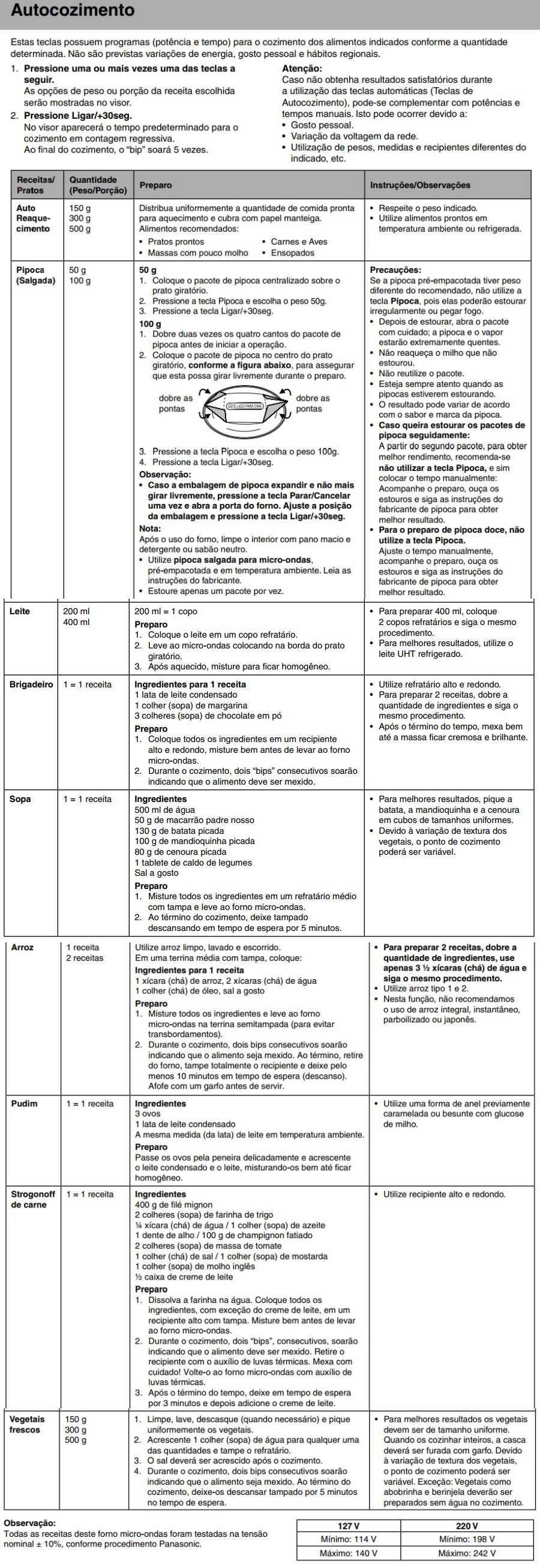 Manual de instruções do microondas Panasonic NN-ST67H - Autocozimento