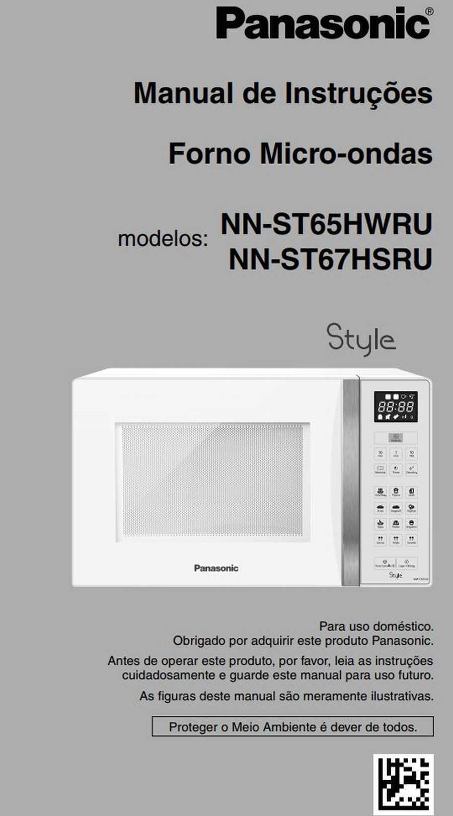 Manual de instruções do microondas Panasonic NN-ST67H - Capa