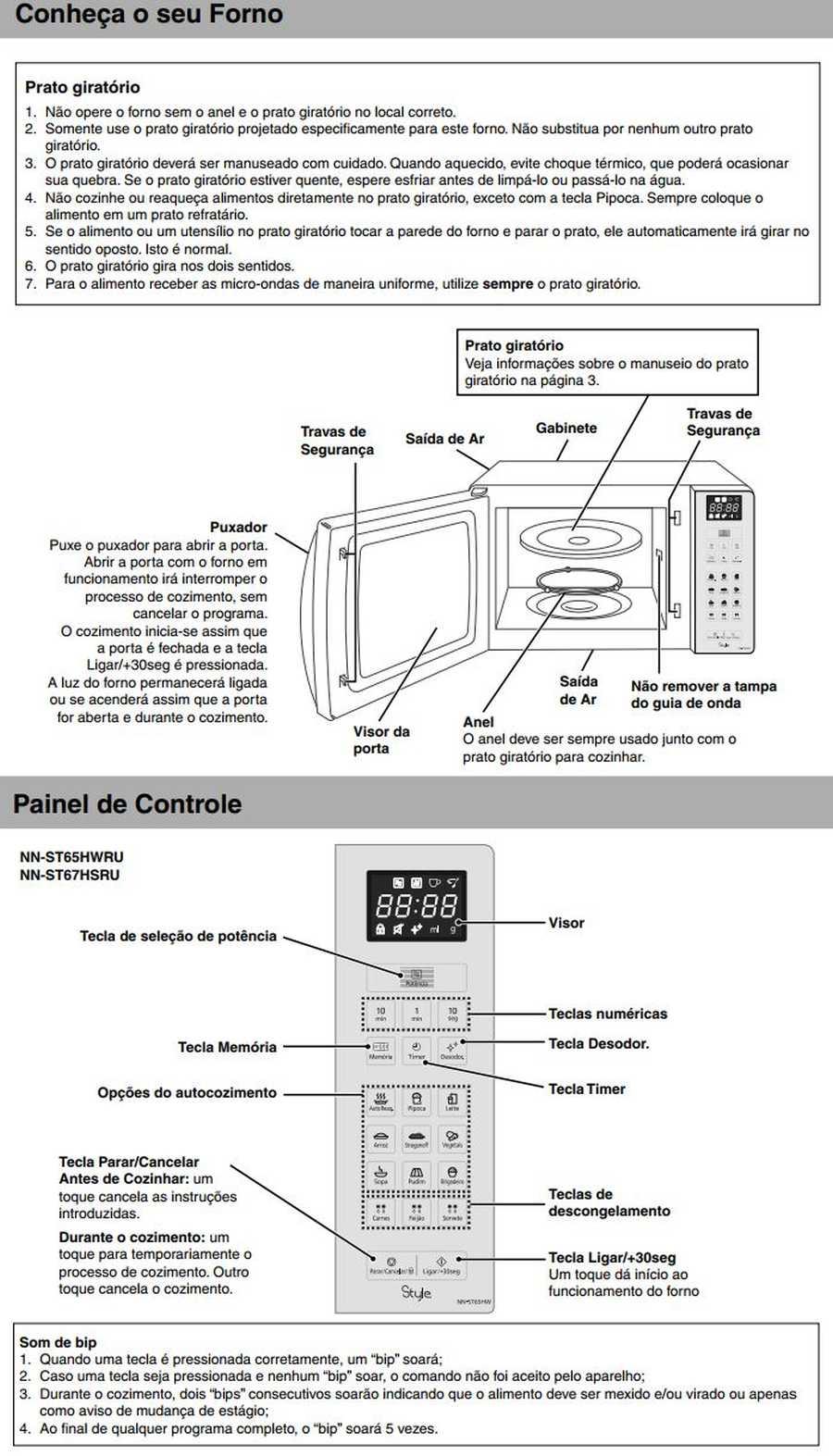 Manual de instruções do microondas Panasonic NN-ST67H - Conheça seu forno