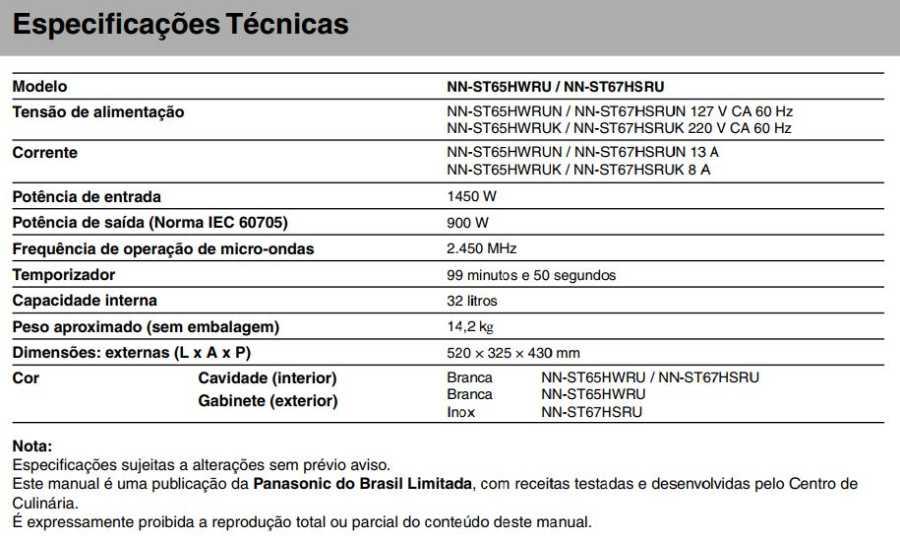 Manual de instruções do microondas Panasonic NN-ST67H - Especificações técnicas