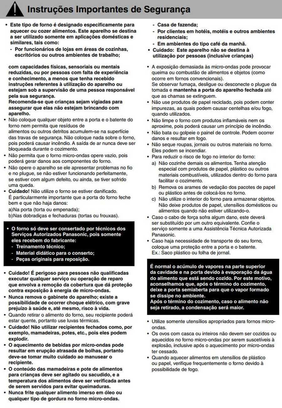 Manual de instruções do microondas Panasonic NN-ST67H - Segurança