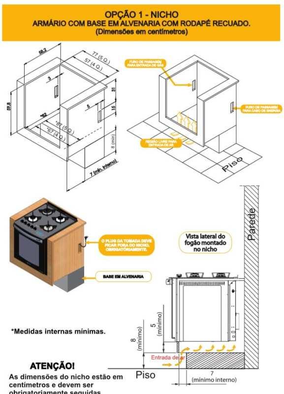 Nicho instalação Fogão Embutir Atlas - opção 1
