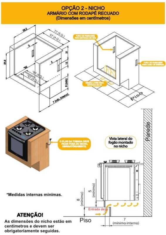 Nicho instalação Fogão Embutir Atlas - opção 2