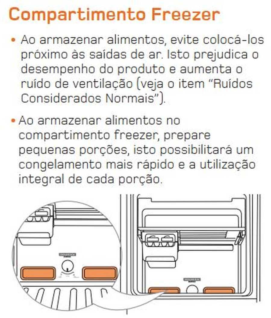 Manual de operação Geladeira Brastemp Frost Free Duplex BRM45 - Compartimento Freezer