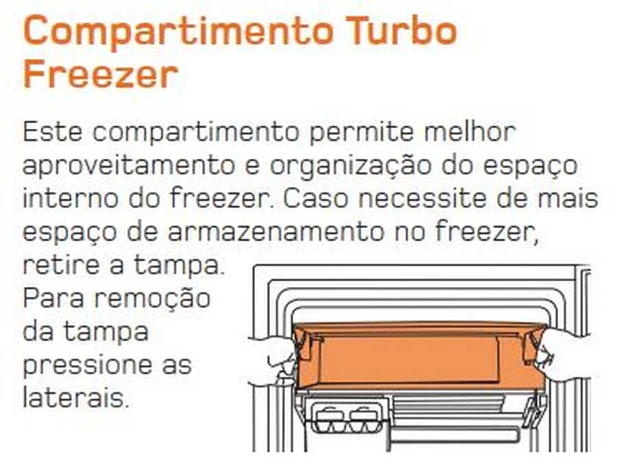 Manual de operação Geladeira Brastemp Frost Free Duplex BRM44 - Compartimento Turbo Freezer