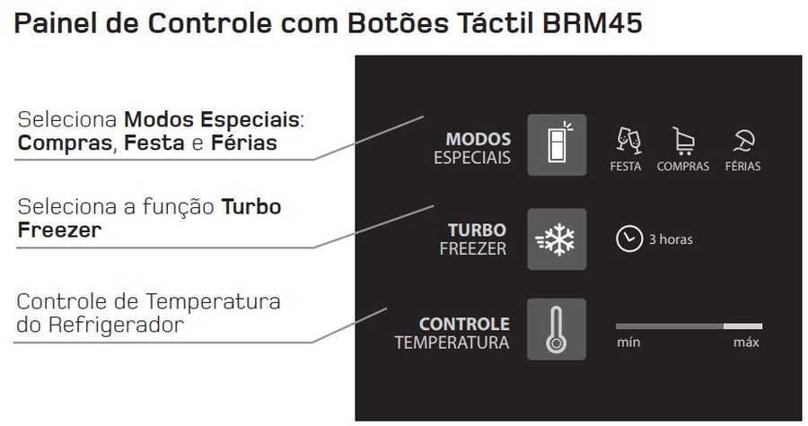 Manual de operação Geladeira Brastemp Frost Free Duplex BRM45 - painel de controle