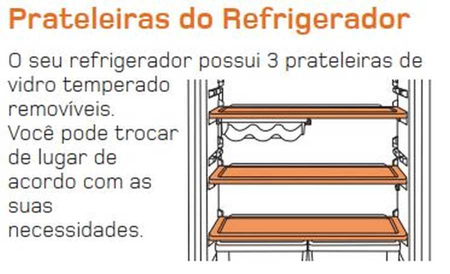 Manual de operação Geladeira Brastemp Frost Free Duplex BRM45 - Prateleiras do refrigerador