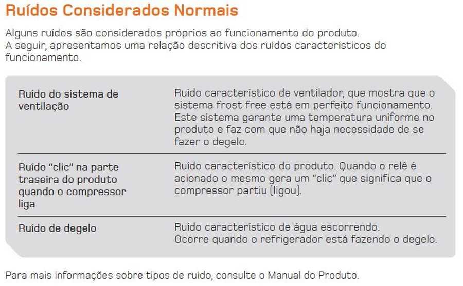 Manual de operação Geladeira Brastemp Frost Free Duplex BRM45 - Ruidos