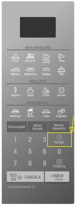 Como ajustar o relógio do microondas LG - painel controle