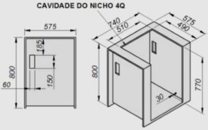 Fogão Esmaltec de embutir - dimensões do nicho