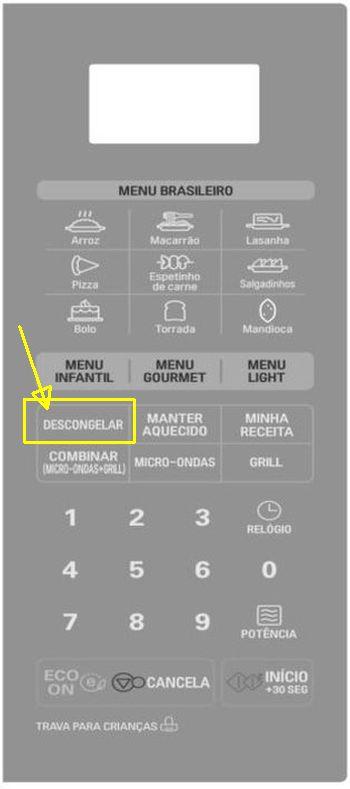 Como descongelar alimentos com microondas LG - painel controle