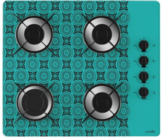 Medidas de Cooktop Casavitra 4 queimadores - rápido - crochê azul turquesa